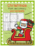 Christmas Math and Literacy Worksheets - Kindergarten
