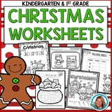 Christmas Math and Literacy Worksheets Kindergarten and First Grade