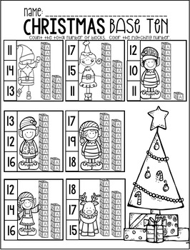 Christmas Math and Literacy Worksheets and Printables for Kindergarten