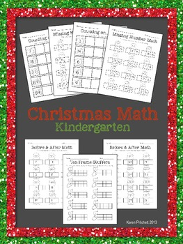 Christmas Math - sequencing, missing number, counting on, & tens frames