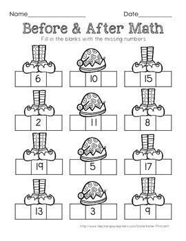 Christmas Math - sequencing / missing number freebie worksheet