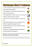 Christmas Math word problems Addition Subtraction (add subtract)