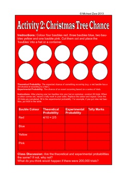 Christmas Math Activities - chance and data (probability)