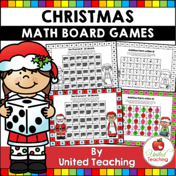 Christmas Maths  No Prep & Color Board Games