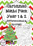 Christmas Maths Pack Year 1 & 2 - differentiated & no-prep