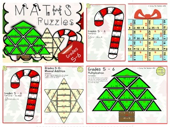 Christmas Maths Puzzles: Bundle (Grades 1 - 6)