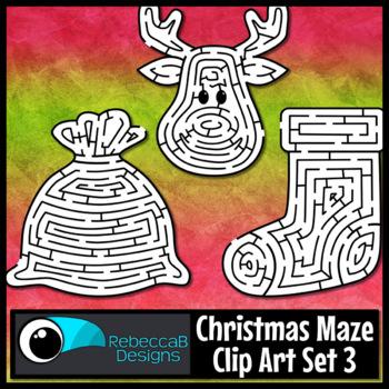 Christmas Maze Clip Art Set 3