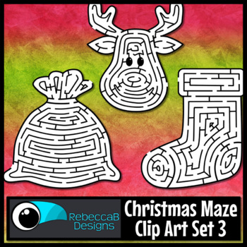 Christmas Maze Clip Art Set 3