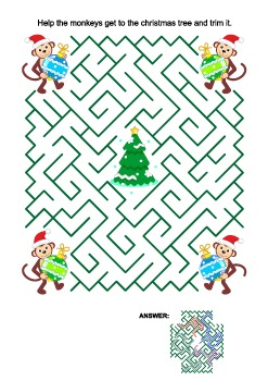 Christmas Maze Game with Monkey Santa Helpers, Commercial Use Allowed