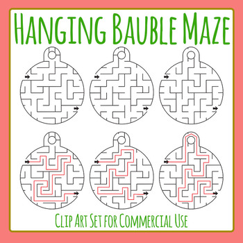 Christmas Maze - Hanging Bauble Christmas Craft Clip Art Commercial Use