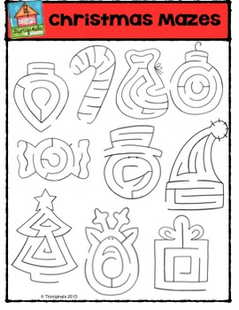 Christmas Mazes {P4 Clips Trioriginals Digital Clip Art}