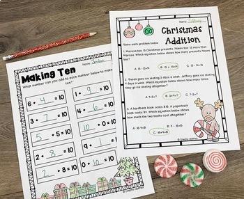 Christmas Reading Writing and Math Activities Grades 1-2