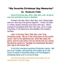Christmas Memories Personal Narrative Example Teacher Modeling Tool