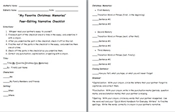 Christmas Memories Personal Narrative Peer-Editing Rubric