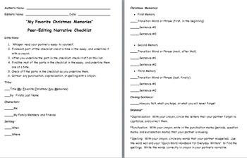 Christmas Memories Personal Narrative Peer-Editing Rubric