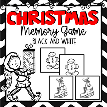 Christmas Memory Game- Black and White