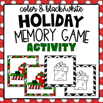 Christmas Memory Game ~ Black and White