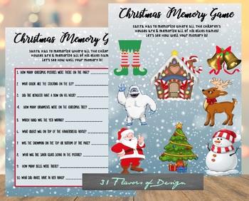 Christmas Memory Game - Printable File