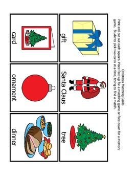 Christmas Memory Matching Game (PDF)