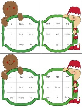 Christmas Bingo with Dolch Sight Words (Pre-Primer)