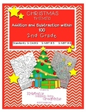 Christmas Mental Math Coloring Activity Center Addition Subtraction 2nd Grade