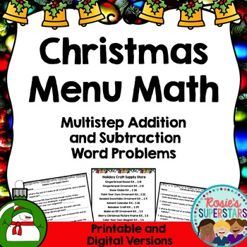 Christmas Menu Math: Multistep Addition and Subtraction Word Problems
