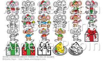 Christmas Mice Clip Art