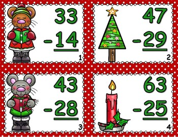 Christmas Mice Double Digit Subtraction With Regrouping Task Cards