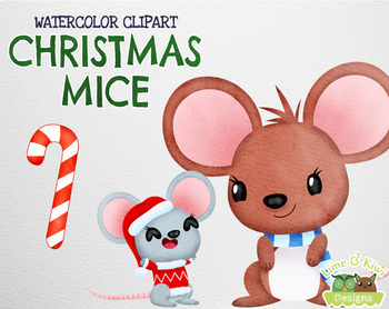 Christmas Mice Watercolor Clipart | Instant Download Vector Art | Commercial Use