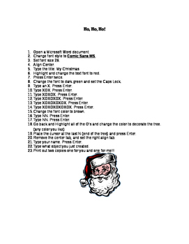Christmas Microsoft Word Project
