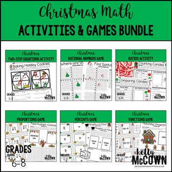 Christmas Middle School Math Activities & Games BUNDLE