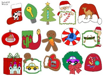 Christmas Mini Articulation Pictures & Worksheets for Sensory Bins or I Spy Game