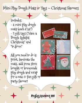 Christmas Mini Play Dough Mats and Gift Tags Christmas Favours