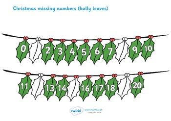 Christmas Missing Numbers Number Line Worksheet (0-20)