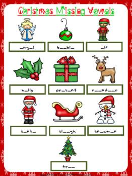 Christmas Missing Vowels Worksheet | Free/Freebie