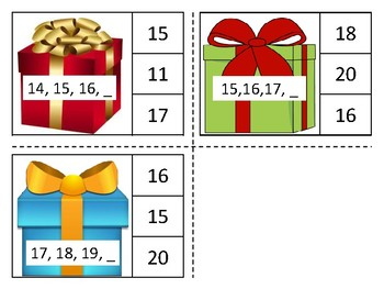 Christmas Missing numbers 1-20 clip cards