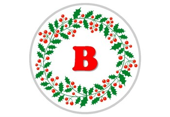 Christmas Mistletoe Wreath Circle Banner Bulletin Board Letters, Classroom Decor