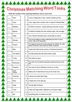 Christmas Mix and Match Word List with Answers