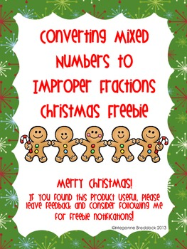 Christmas Mixed Number and Improper Fractions *Freebie*