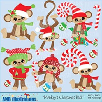 Christmas Monkey clipart AMB-380