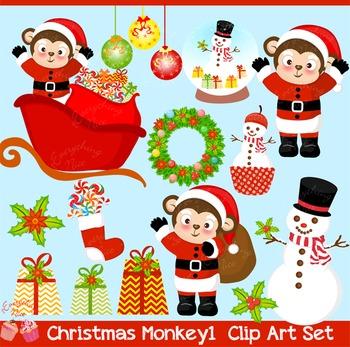 Christmas Monkeys 1 Clipart Set