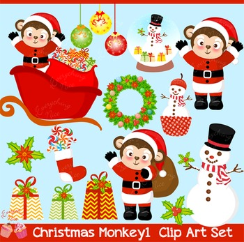 Christmas Monkeys 1 Clipart Set