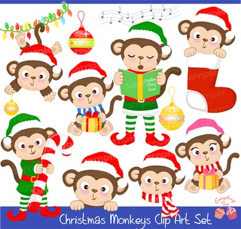 Christmas Monkeys Clipart Set