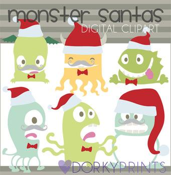 Christmas Monsters Digital Clip Art
