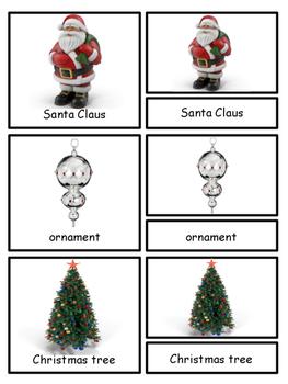 Christmas Montessori 3-part cards and Silhouette cards--Safari Christmas Toob