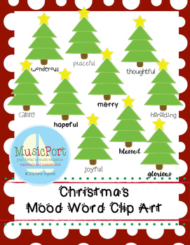 Christmas Tree Mood Words Clip Art
