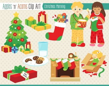 Christmas Morning Clip Art - color and outlines
