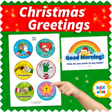 Christmas Morning Greeting Choices Signs for Classroom and