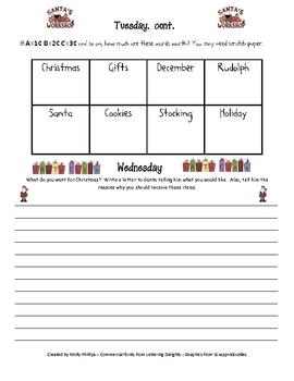 Christmas Morning Work Activities