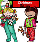 Christmas Morning clip art-color and B&W